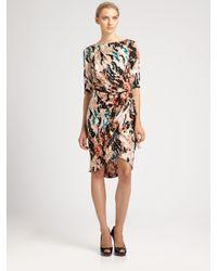Rachel Roy | Black Landscape Printed Wrap Dress | Lyst