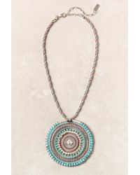Anthropologie | Green Woven Medallion Necklace | Lyst