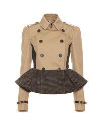 Burberry Prorsum | Beige Trench Jacket with Tweed Peplum | Lyst