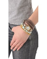 La Mer Collections - Brown Venetian Stones Wrap Watch - Lyst