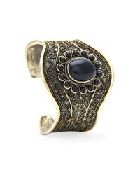 Mango | Black Touch Engraved Stones Cuff | Lyst