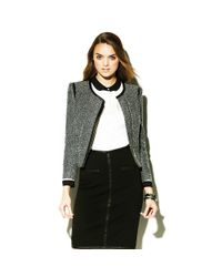 Vince Camuto - Black Faux Leather Tweed Jacket - Lyst