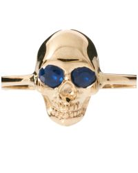 Zoe & Morgan - Metallic Skull Ring with Sapphire Eyes - Lyst