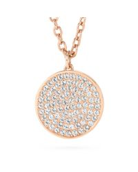 COACH | Pink Large Pave Disc Pendant Necklace | Lyst