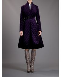 Burberry Prorsum | Purple Belted Quilted Coat | Lyst