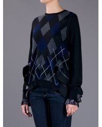 Sacai | Blue Argyle Sweater | Lyst