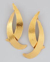 Herve Van Der Straeten - Metallic Virgules Crescent Drop Earrings - Lyst