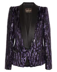 Roberto Cavalli | Purple Animalprint Brocade Tuxedo Jacket | Lyst