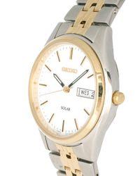 Seiko   Silver Solar Gents Bracelet Watch Sne032p1 for Men   Lyst