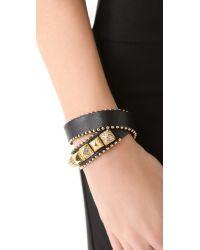 Juicy Couture - Metallic Heavy Metal Skinny Leather Wrap Bracelet - Lyst