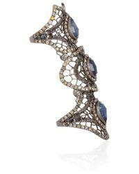 Loree Rodkin | Metallic 18kt Oxidised Gold and Grey Diamond Spiderweb Ring | Lyst