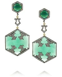 Artisan - Blue Sterling Silver Diamond and Onyx Earrings - Lyst