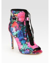 B Brian Atwood | Multicolor Lindford Satin Laceup Ankle Boots | Lyst