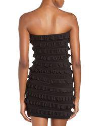 Elizabeth and James - Black Vivienne Silk Chiffon-ruffled Strapless Dress - Lyst