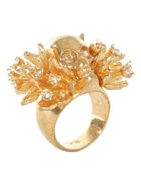 Alexander McQueen - Metallic Gold Atom Flower Skull Cocktail Ring - Lyst