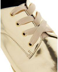 ASOS | Gold Moment Metallic Flat Shoes | Lyst