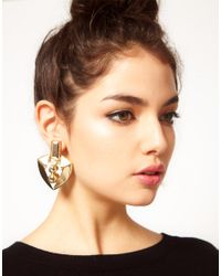 ASOS - Metallic Shield Doorknocker Earrings - Lyst