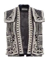 Balmain   Silver Embellished Velvet Vest   Lyst