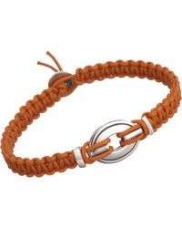 Catherine Zadeh | Metallic Macrame Cord Bracelet with Silver Oval Bead for Men | Lyst