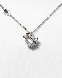 Juicy Couture | Metallic Silver Chain Faceted Bow and Heart Pendant Necklace 16l | Lyst