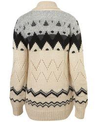 TOPSHOP - Black Knitted Chunky Fairisle Cardi - Lyst
