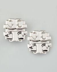 Tory Burch - Metallic Small T-logo Stud Earrings - Lyst