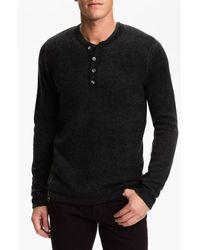 Vince | Black Henley Sweater for Men | Lyst