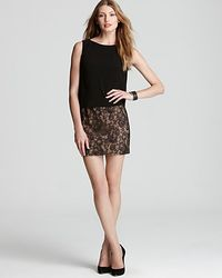 Adrianna Papell | Gold Day Dress Blouson Lace Skirt | Lyst