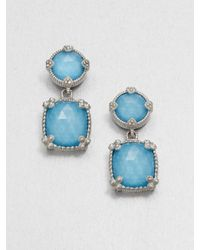 Judith Ripka | Metallic Turquoise Doublet Sterling Silver Drop Earrings | Lyst