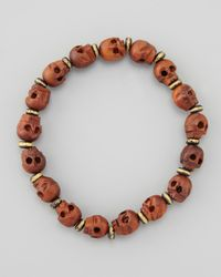 Tai - Brown Wooden Skullbeaded Bracelet - Lyst