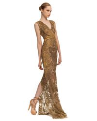 Vera Wang | Gold Ss Embroidered Lace Gown | Lyst