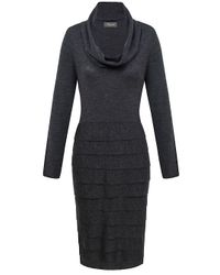 Alexon | Gray Dark Grey Long Sleeve Tiered Knitted Dress | Lyst