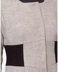 ASOS Collection - Gray Asos Hourglass Rib Collar Coat - Lyst