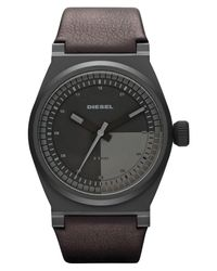 DIESEL | Black Dual Color Dial Leather Strap Watch for Men | Lyst
