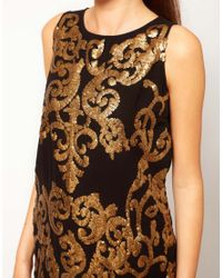 River Island | Brown Gold Sequin Shift Dress | Lyst