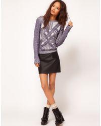 ASOS - Blue Premium Sweater with 3d Plaits - Lyst