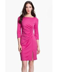Trina Turk | Pink Snow Bunny Ruched Sheath Dress | Lyst