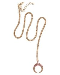 Rebecca Minkoff | Pink Pave Small Double Horn Pendant | Lyst