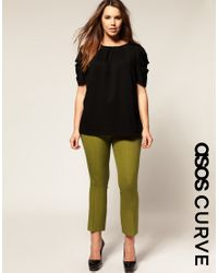 ASOS Collection | Green Asos Curve Cropped Kickflare Trousers | Lyst