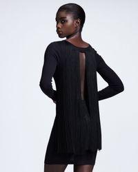 Stella McCartney - Black Fringed Longsleeve Dress - Lyst