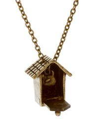 ASOS Collection - Metallic Asos Bird House Pendant with Flying Bird Charm - Lyst