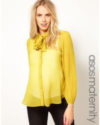 ASOS Yellow Blouse with Pussybow Pleated Sleeve