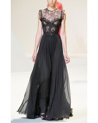 Elie Saab | Gray Charcoal Lace and Grosgrain Long Dress | Lyst