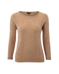 NW3 by Hobbs - Brown Red Oak Cable Sweater - Lyst