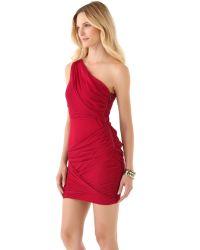 Alice + Olivia | Red One Shoulder Goddess Dress | Lyst