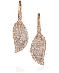 Anita Ko - Metallic 18karat Rose Gold and Diamond Leaf Earrings - Lyst