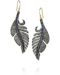 Artisan - Metallic Sterling Silver Diamond and Sapphire Leaf Earrings - Lyst