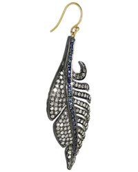 Artisan - Metallic Sterling Silver Diamond and Sapphire Leaf Earrings - Lyst