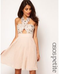 ASOS Pink Dress with Embellished Cross Front and Pleated Skirt