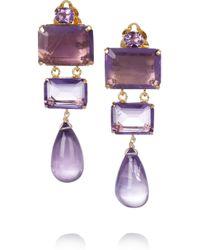 Bounkit | Purple 24karat Goldplated Amethyst Clip Earrings | Lyst